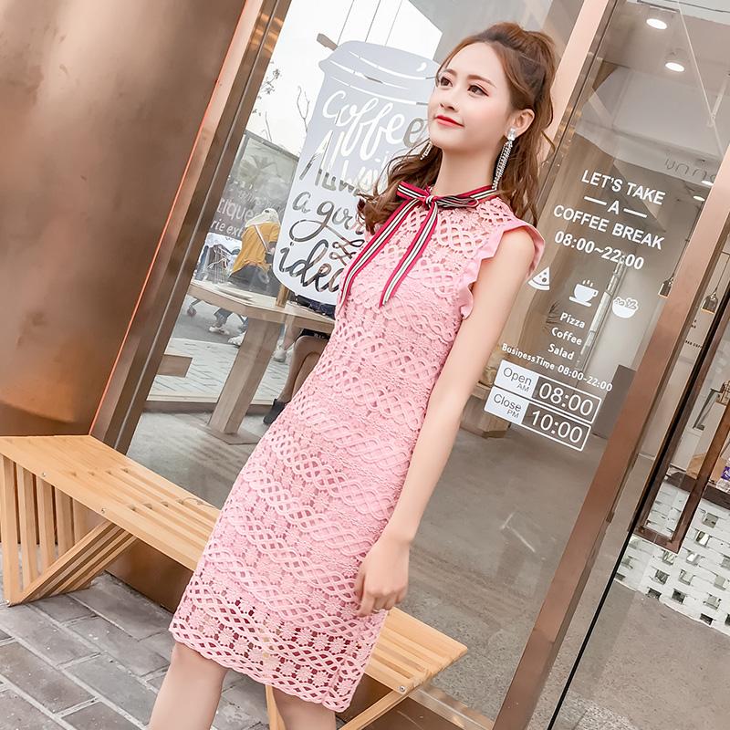 2018流行女装新款韩版水溶蕾丝镂空连衣裙收腰小清新无袖背心裙子
