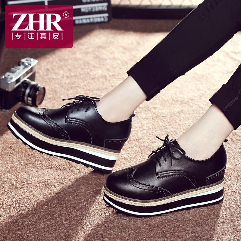 ZHR2019春季新款厚底松糕鞋内增高女鞋真皮休闲鞋英伦风平底单鞋