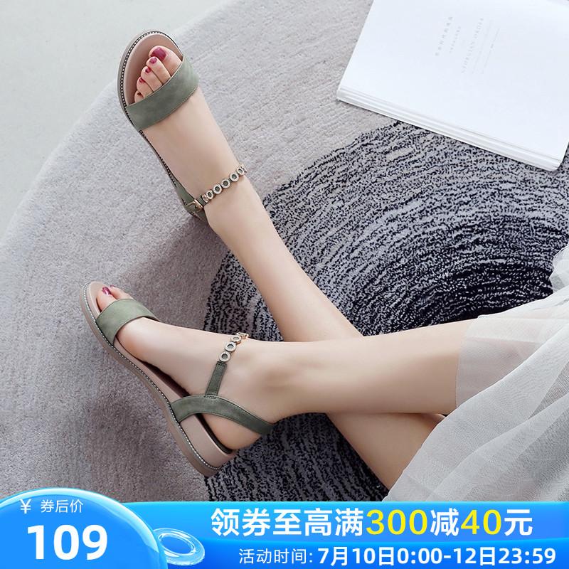 ZHR女士凉鞋女2020新款夏季坡跟仙女风一字带低跟平底鞋时装女鞋