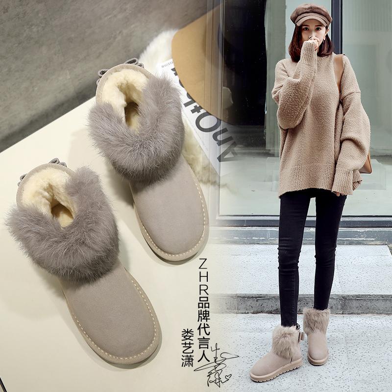 ZHR2019冬靴新款雪地靴女时尚短靴懒人平底短筒加绒保暖加厚棉鞋