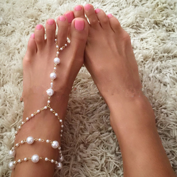 Handmade Korean Retro Black Rope womens Anklet simple sexy Pearl Bracelet summer bracelet Jewelry instep body chain