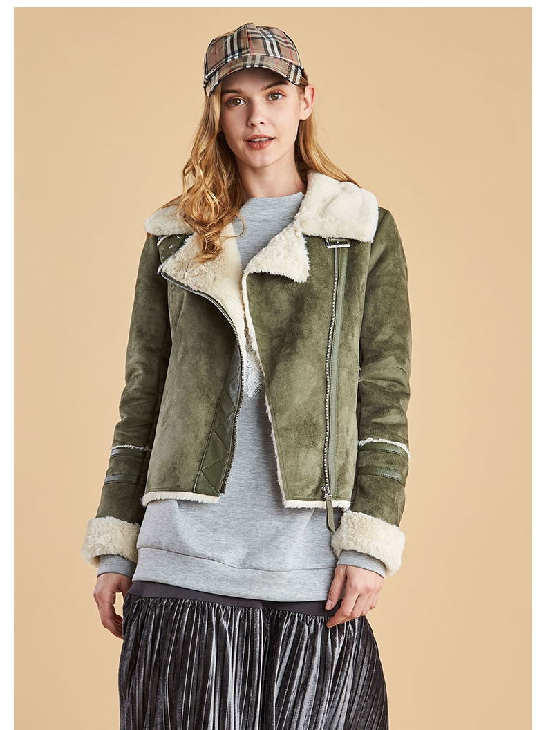 2019 aiyige Army Green Suede flannel collar with plush thickening, warm and slim fit short coat womens spot hair