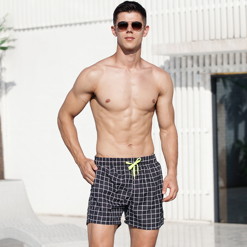 Mens sports shorts 3-point Plaid casual pants summer outdoor running basketball quick drying fitness pants