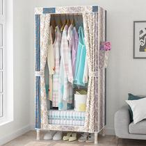 简易衣柜结实耐用加粗实木组装牛津布单人布艺宿舍出租房用布衣柜