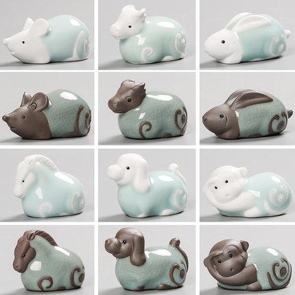 可爱陶瓷十二生肖小摆件牛龙羊狗马虎鼠蛇兔猴鸡猪工艺品属相饰品