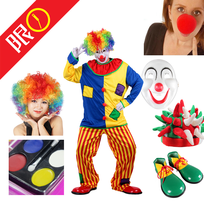 Clown props funny performance adult cos children wig exploding head role play shoes red nose cloth bag