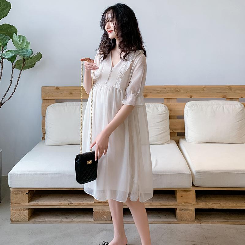 孕妇装夏天裙子洋气潮辣妈洋气仙女连衣裙 有内衬系带时尚款外出