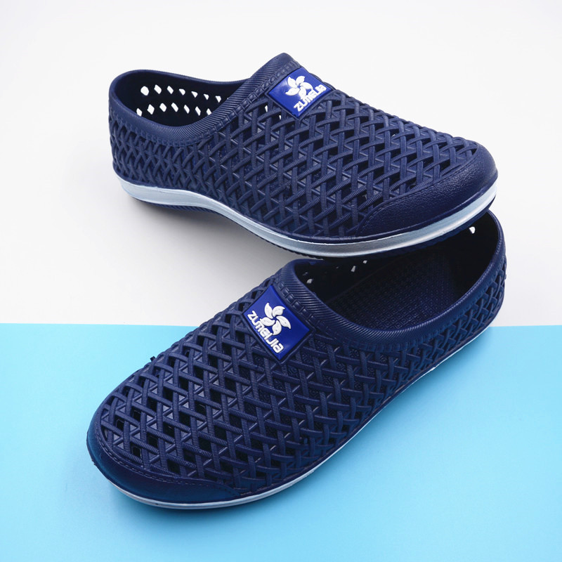 New fashion wear lovers hole shoes mens summer hollow out breathable soft bottom Baotou drifting sandals antiskid beach shoes