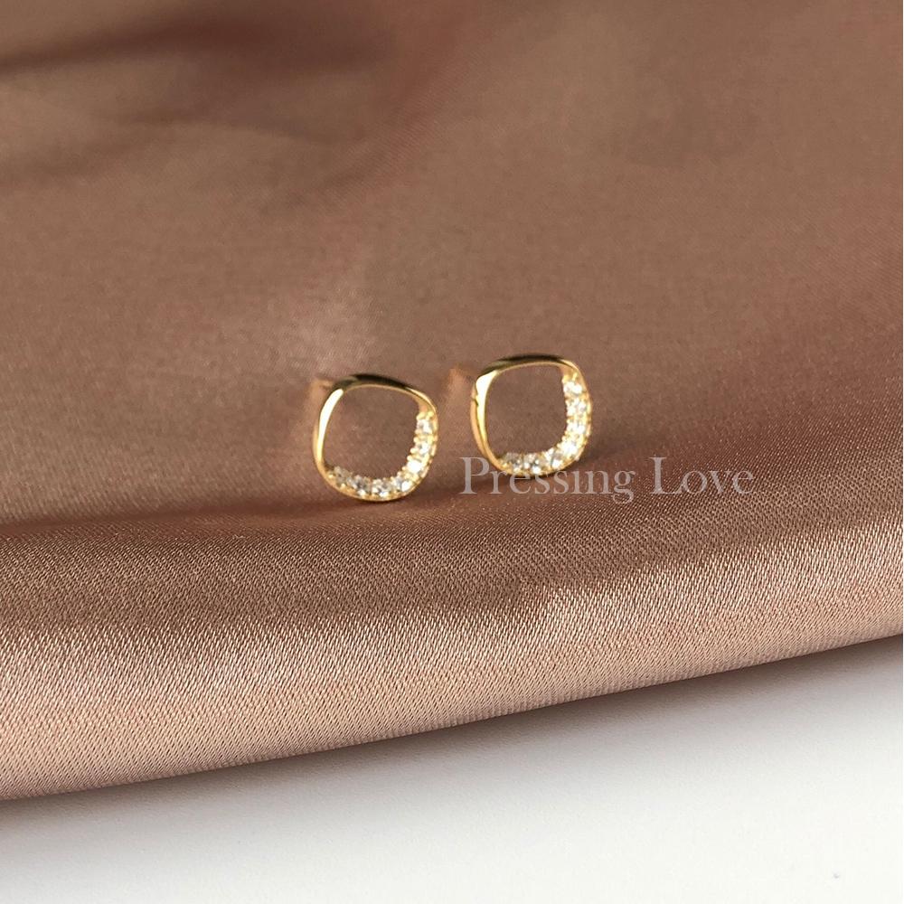Pressing Love几何方形镶钻耳钉时尚镂空通体925纯银气质耳环个性