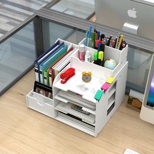 办公用品文件夹收纳盒多层书架简易桌上多功能书立文件架框资料架