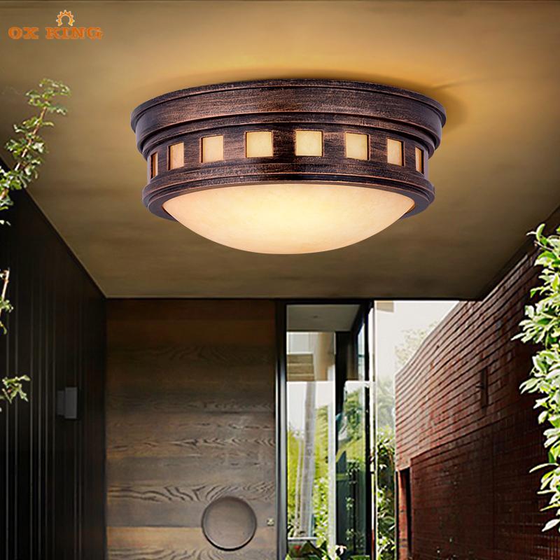 大门口户外吸顶灯简约现代阳台过道LED室外内防水庭院家用走廊灯