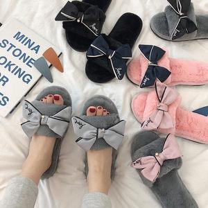 细细条 韩版日系甜美蝴蝶结毛毛拖鞋女秋冬室内家用防滑地板棉拖