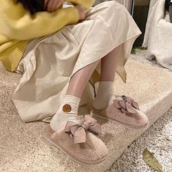 细细条 韩版可爱少女心甜美ins冬季保暖室内居家用防滑毛绒棉拖鞋