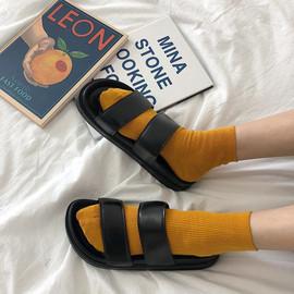 细细条 韩版ins原宿港风复古双带拖鞋女夏学生厚底沙滩鞋外穿凉鞋图片