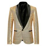 亮片个性男歌手礼服演出金色西装外套主持人夜店DJ服装影楼西服男