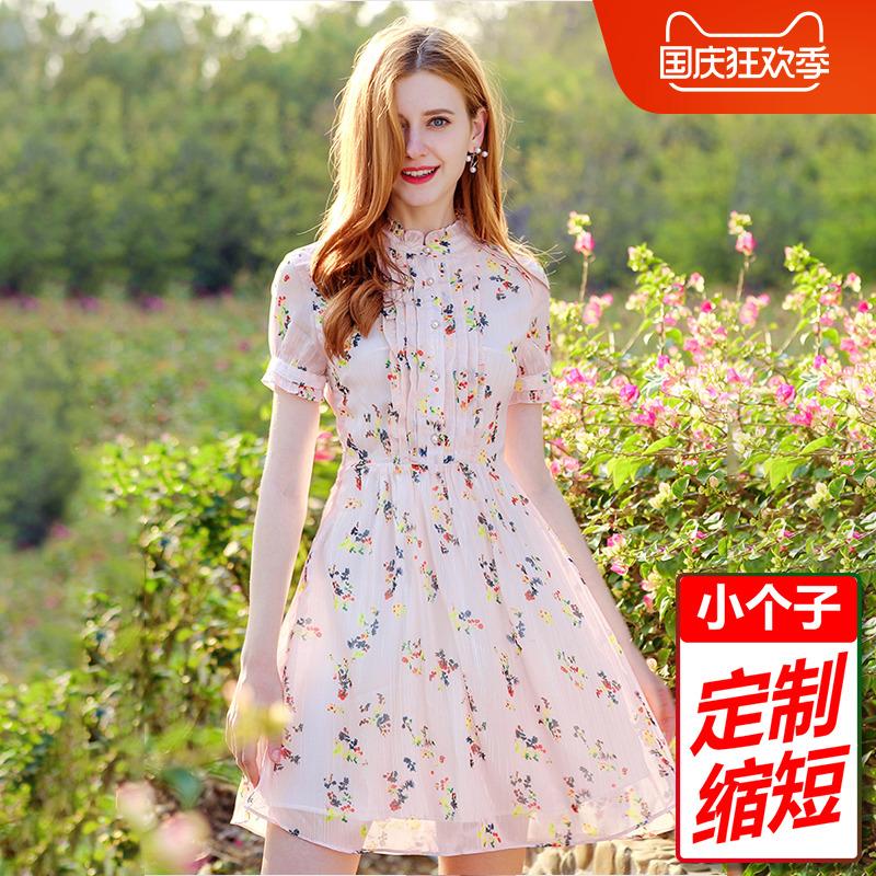 2020春夏夏服半袖小柄女装150ライトアップスカート立襟花シフォンワンピース