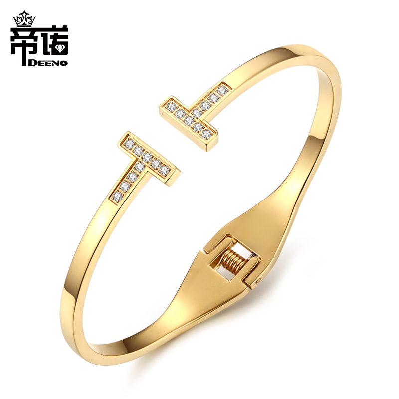 Fashion titanium steel electroplated K-gold inlaid diamond double t open bracelet bracelet