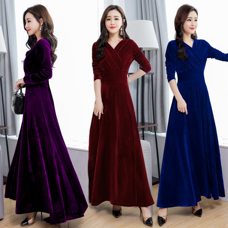2021春秋新款金丝绒连衣裙大码丝绒高贵洋气长袖高端气质黑色长裙