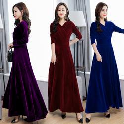 2020年秋冬新款金丝绒连衣裙大码丝绒高贵洋气长袖贵夫人黑色长裙