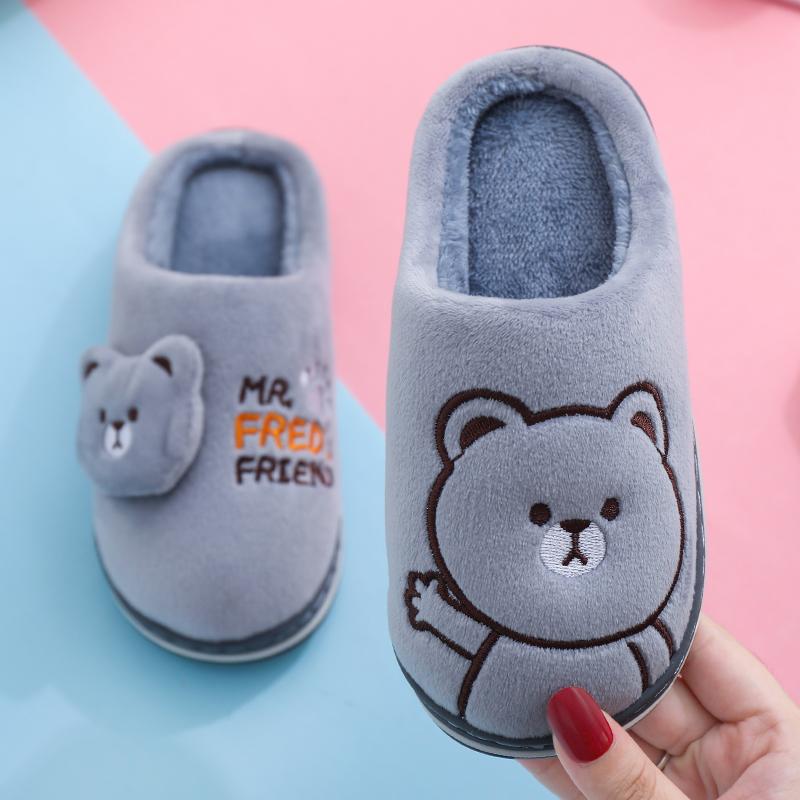 儿童棉拖鞋冬男女一家三口童卡通居家亲子鞋厚底保暖包跟宝宝棉拖