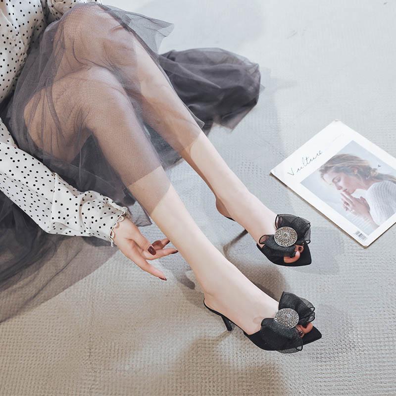 一代佳人凉拖鞋2020夏季新款露趾细跟尖头蝴蝶结高跟鞋拖鞋女外穿