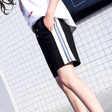 Summer thin womens pant elastic cotton Capris straight tube loose oversize striped sports casual Capris