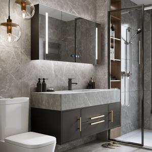 岩板一体盆组合现代简约柜洗手台盆