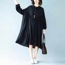 中长款 胖mm连衣裙A型 大码 宽松圆领纯色长袖 实拍2019秋灯笼袖 女装