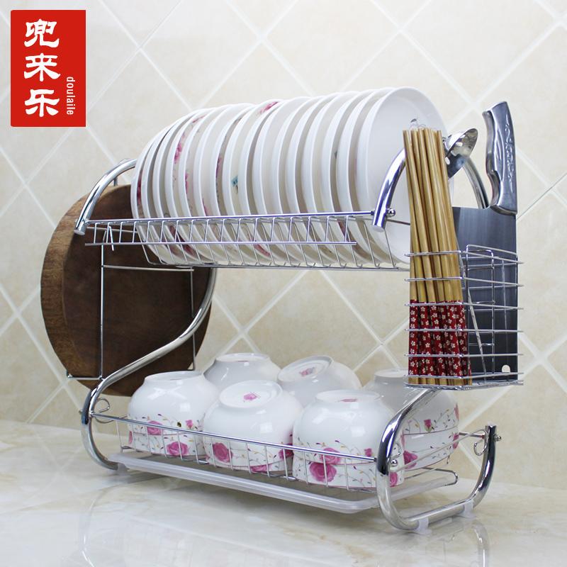 Кухня стеллажи двойной чаша полка воздуха мыть релиз дренажный полка посуда полка плаха посуда хранение полка башенка статьи инструмент