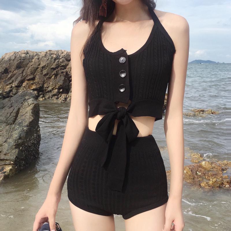 韩国ins分体高腰挂脖针织女游泳衣