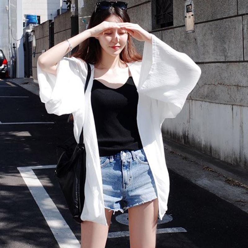 2018新款女装夏季韩版雪纺防晒衣女中长款开衫海边沙滩百搭薄外套