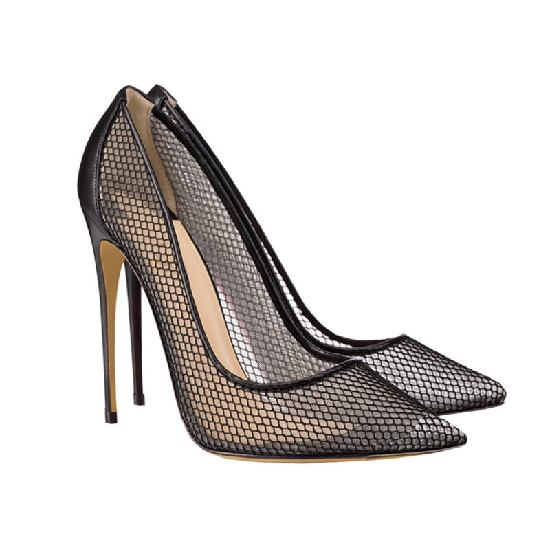 Super high heel grid 12cm high heel shoes super fine heel soft sole pointed single shoes womens fashion 8.510cm shallow mouth womens shoes