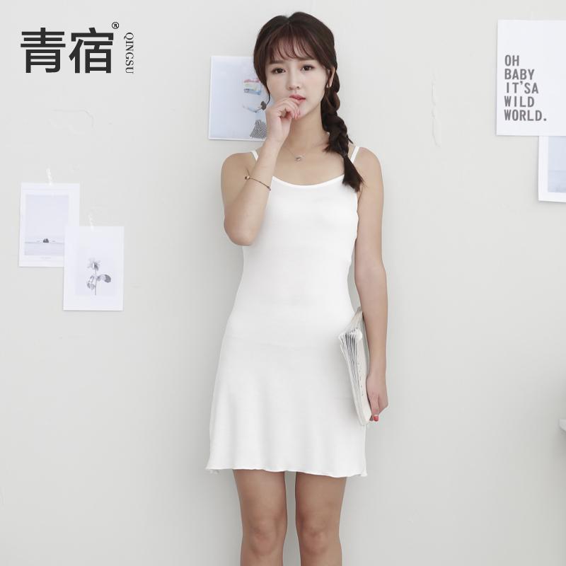 青宿莫代尔中长款吊带女调节打底衫