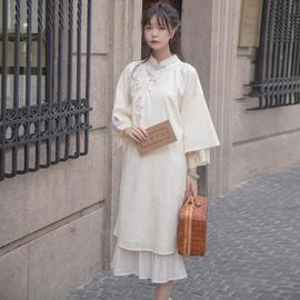 川黛 -《卿卿》原创设计优雅民国少女倒大袖元素绢花蕾丝宽松旗袍图片