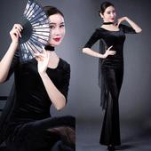 古典圆领中袖形体训练服女修身礼仪导师优雅现代走秀练功舞蹈套装