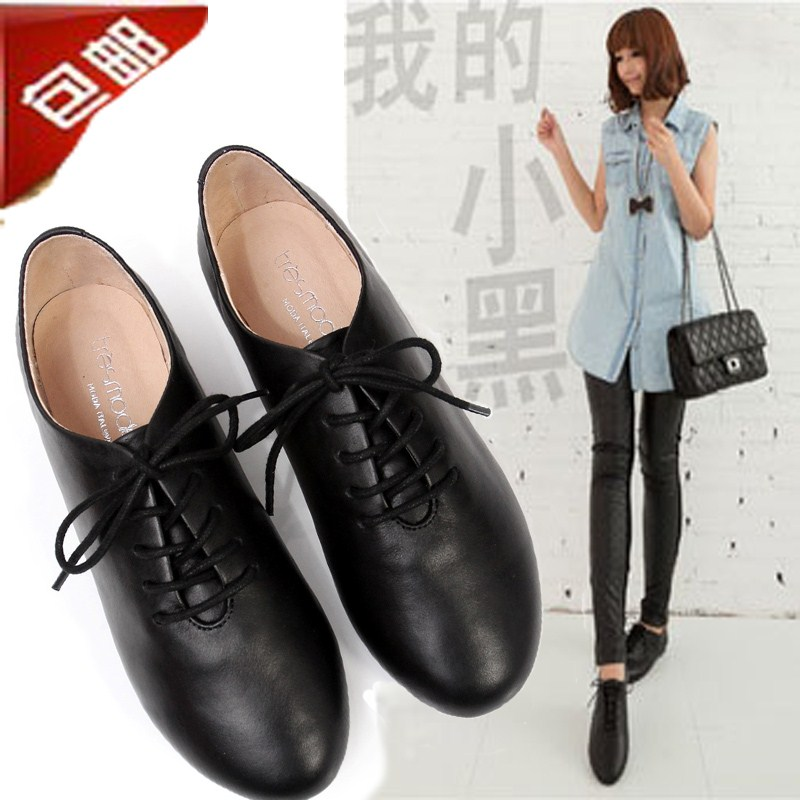 European and American Leather Oxford Shoes retro small black shoes leather shoes flat shoes small white shoes lace up womens single shoes full leather