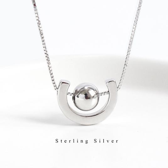 S925通体纯银几何半圆形项链女圆珠豆子极简风格全银锁骨气质套链