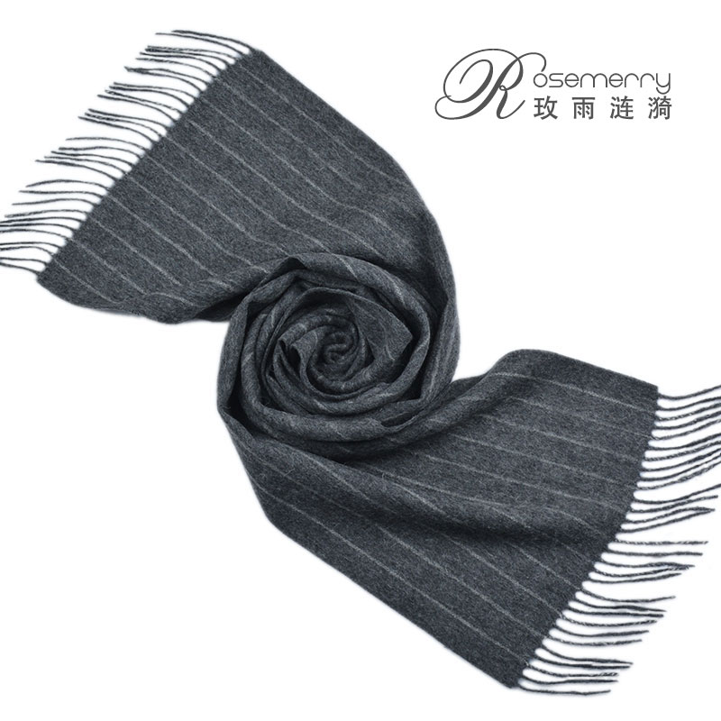 Dark gray scarf mens and womens solid color striped scarf winter warm Japanese scarf pure wool Inner Mongolia straight hair