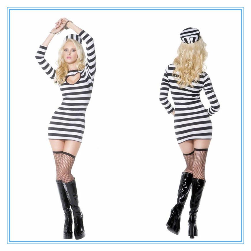 2013年万圣节cosplay服制服黑白搭配条纹女囚服夜店派对装 囚犯