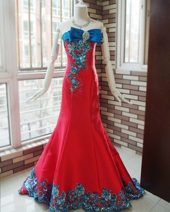 European version of the gorgeous luxury red toast clothing evening dress shiny blue sheet noble bride gown