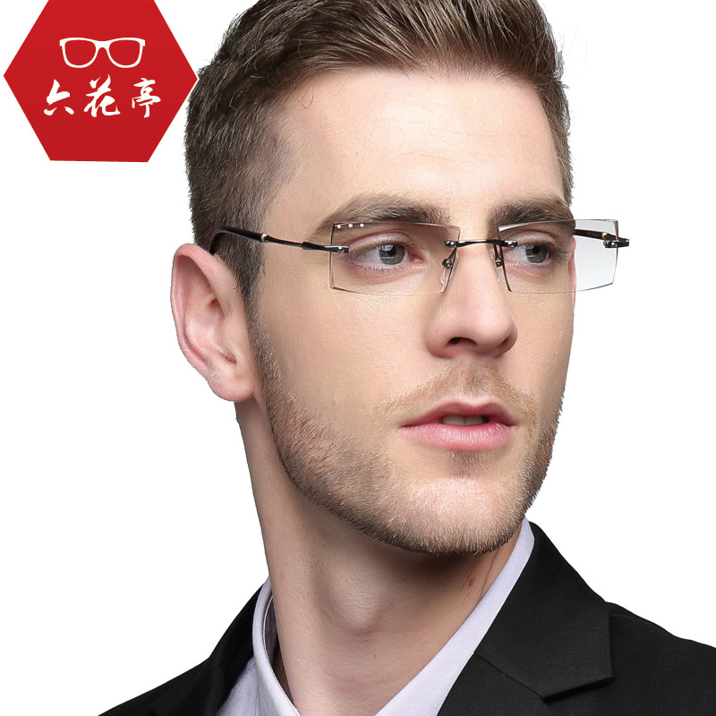 Pure titanium spectacle frame mens rimless spectacles mens diamond rimmed and diamond rimmed myopia spectacles mens color changing lenses