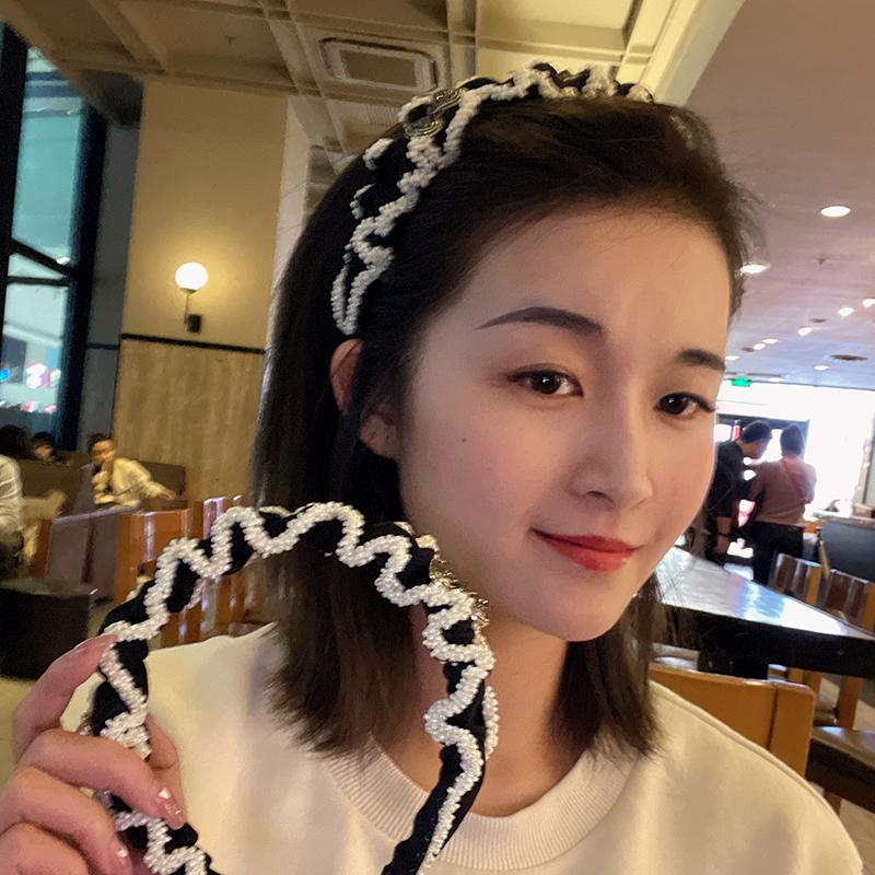 韩国东大门复古珍珠发箍森系超仙头箍百搭外出压发淑女发带头饰