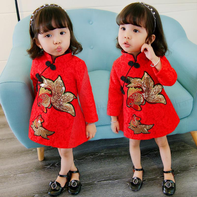 女宝宝秋冬连衣裙1-2-3周岁新款婴儿童装加绒加厚旗袍女童公主裙