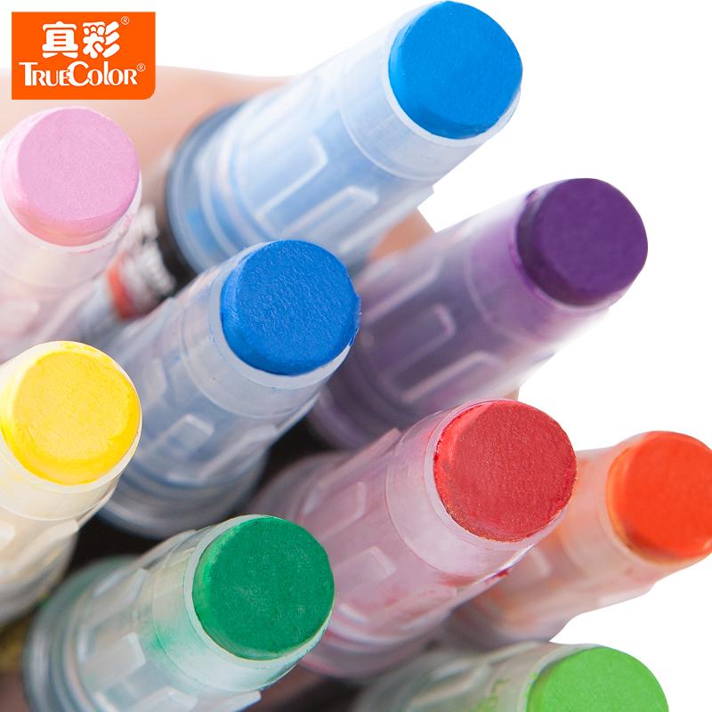 真彩紙盒裝晶之彩棒12色炫彩棒兒童無毒繪畫旋轉水溶性油畫棒2386