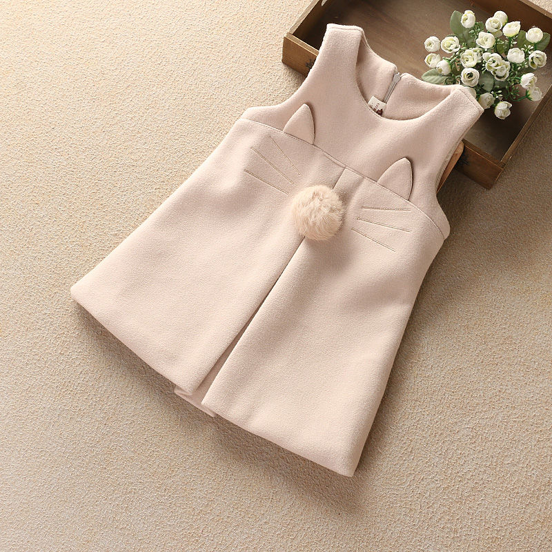 女童毛呢背心裙2021春秋季韩版儿童女孩气质修身无袖呢子连衣裙子