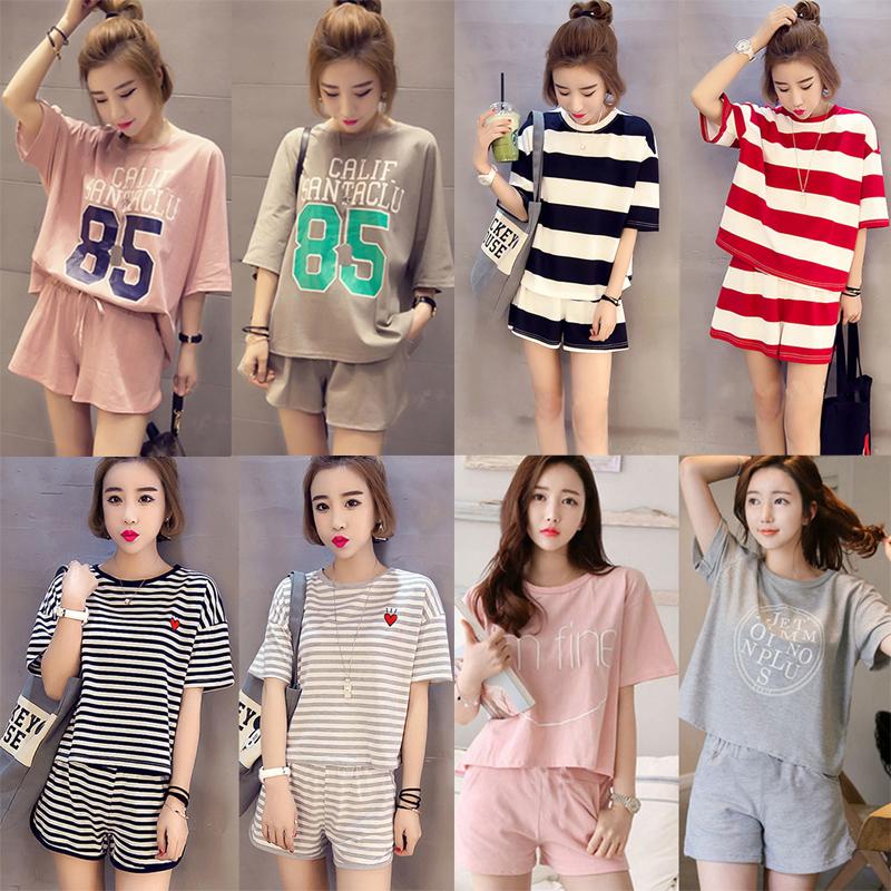 夏季韓版休閑短袖睡衣女寬鬆運動套裝學生外穿家居服女士日系夏裝