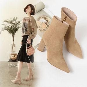 磨砂真皮尖头粗跟短靴羊皮杏色高跟马丁靴裸色高跟鞋卡其色女靴子