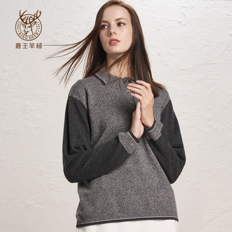 Genuine deer King cashmere sweater womens T-shirt color matching pure cashmere warm casual sweater swc001060
