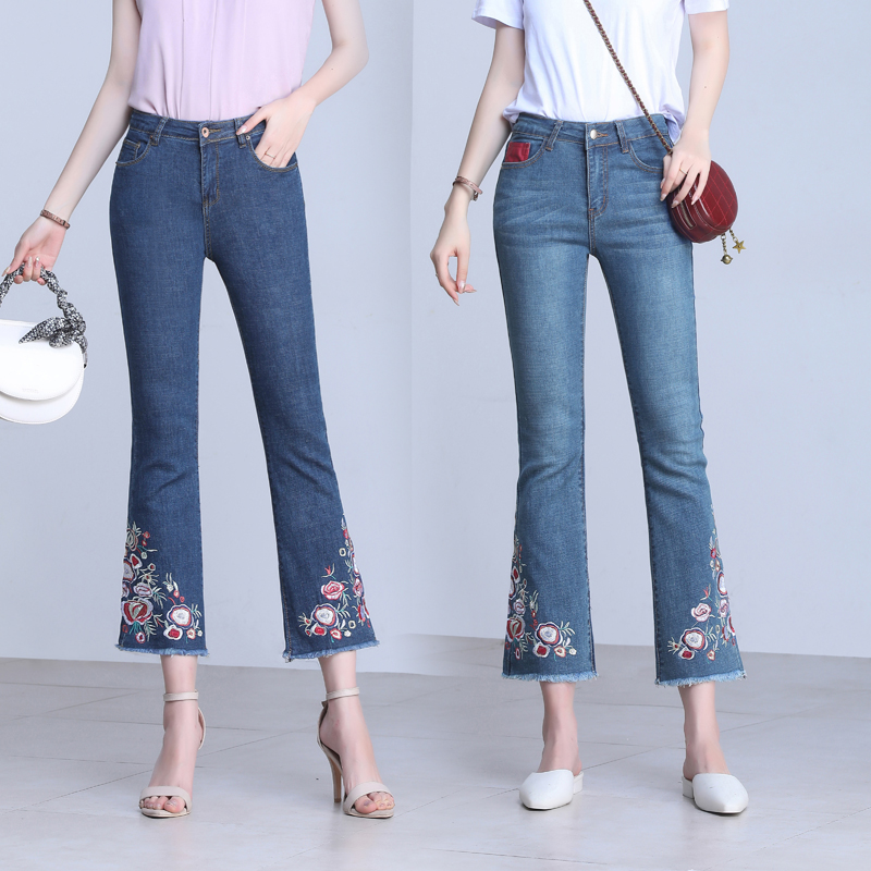 High waist 9-point embroidered micro trumpet jeans womens elastic loose thin new 9-point pants versatile spring and autumn trumpet