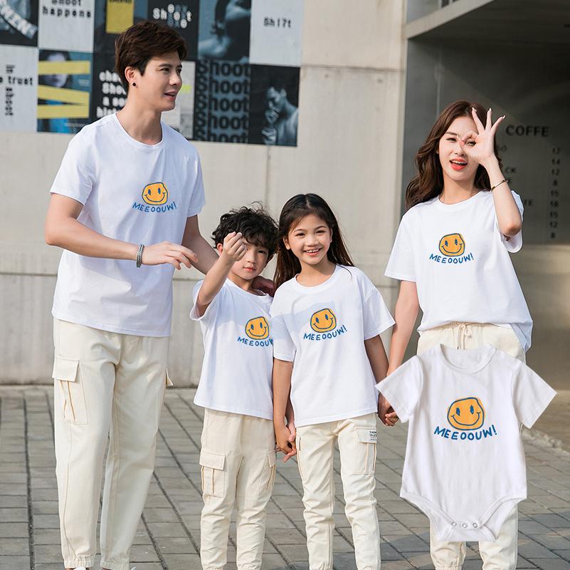 夏季新款亲子装t恤男童女童休闲卡通短袖纯棉透气套装